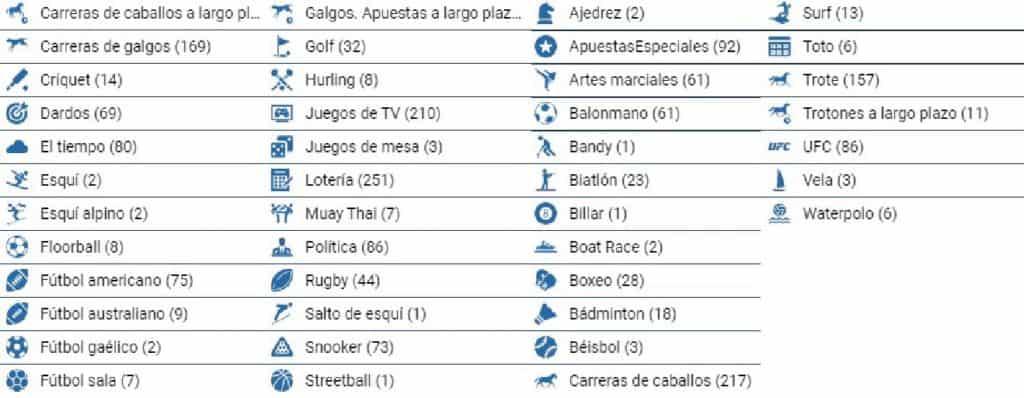 1xbet México Categorías de apuestas deportivas