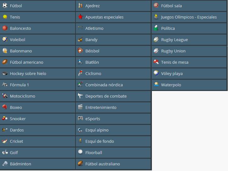 Sportingbet México con 35 categorías deportivas