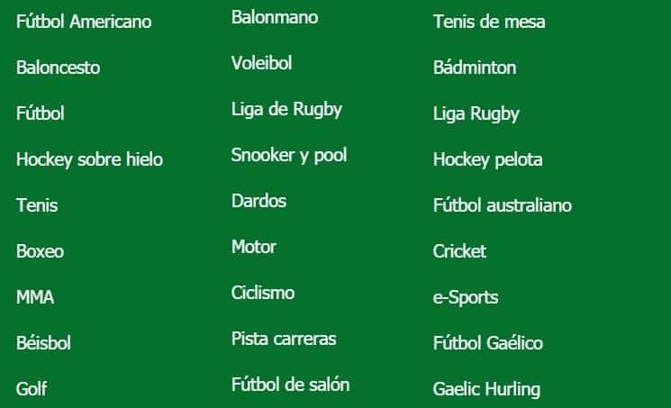 categorías deportivas ganabet mexico